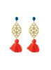 handmade designer womens turquoise and orange reva earrings katie bartels