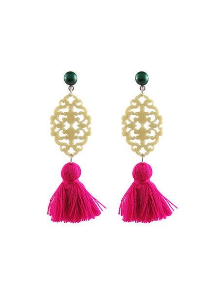 handmade designer womens malachite and magenta reva earrings katie bartels