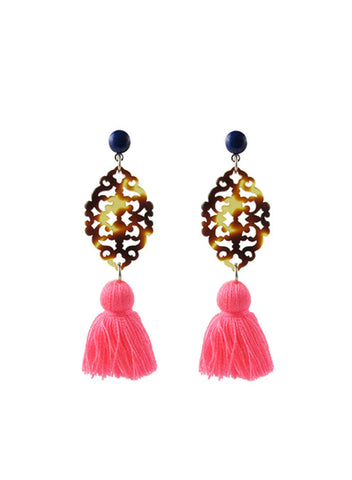 womens royal blue and bright pink reva earrings katie bartels