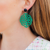 handmade womens green laser cut rima earrings katie bartels