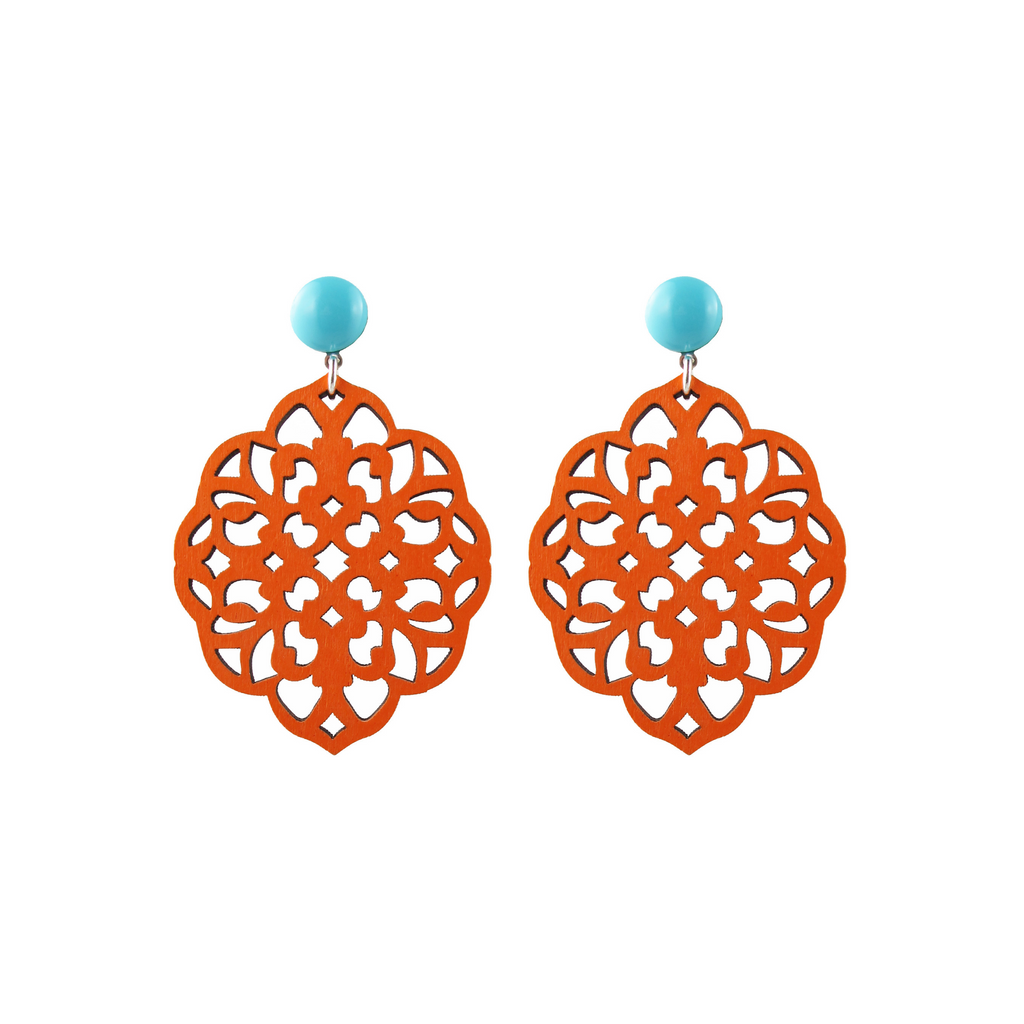 handmade designer womens orange laser cut rima earrings katie bartels