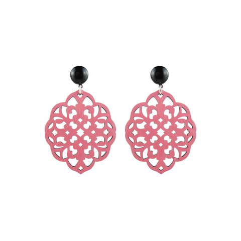 handmade designer womens pink laser cut wood rima earrings katie bartels