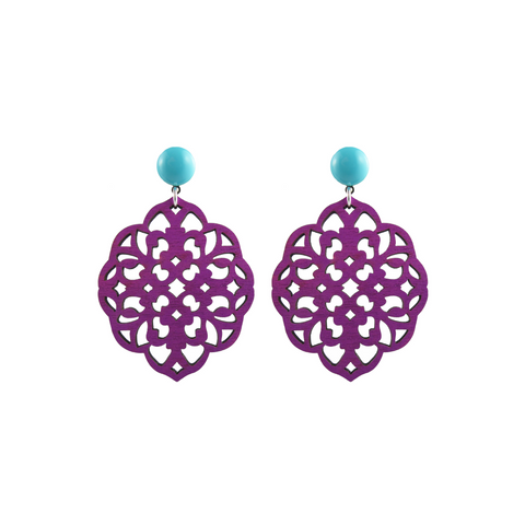 handmade designer womens purple laser cut wood rima earrings katie bartels