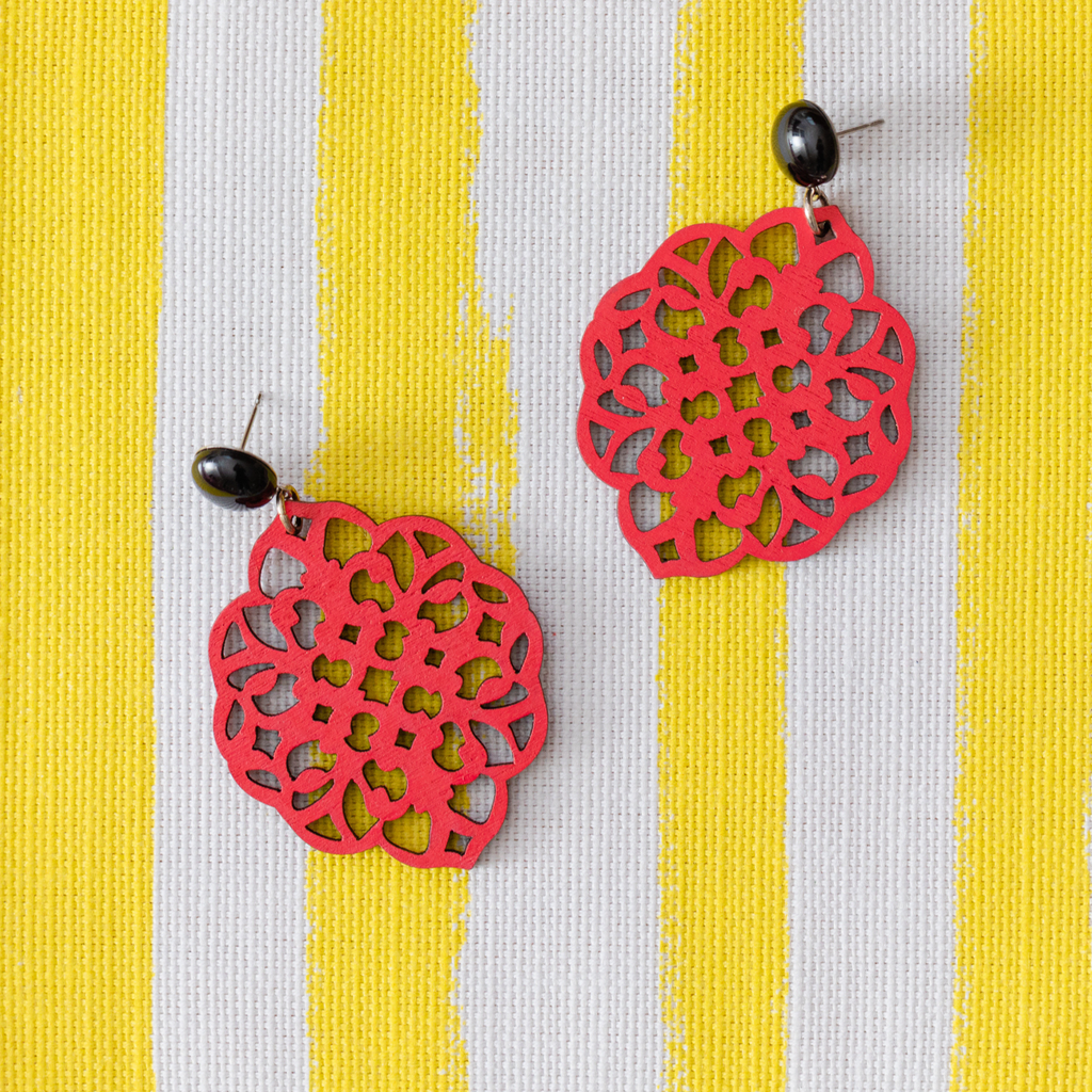 handmade womens red rima earrings katie bartels