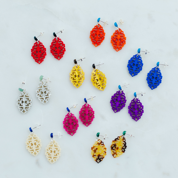 handmade womens colorful ornate laser cut drop earrings katie bartels
