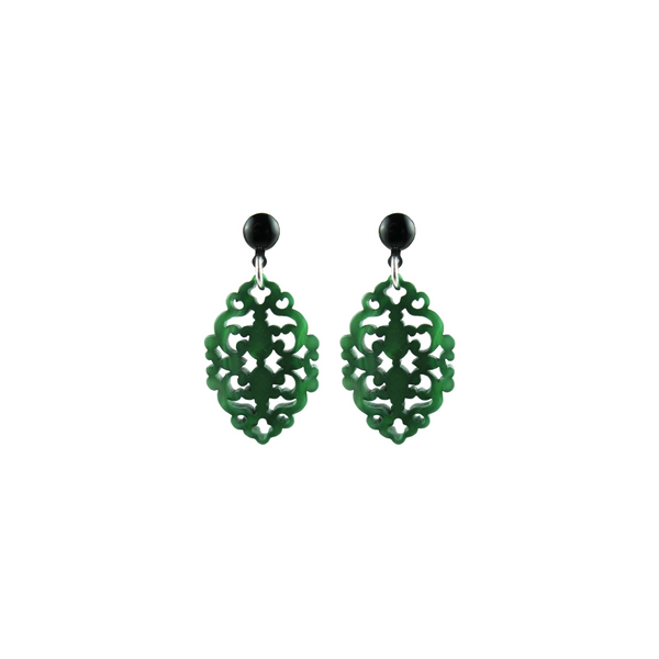 handmade designer womens emerald green Satya earrings katie bartels