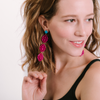 handmade womens laser cut fuchsia pink drop earrings katie bartels