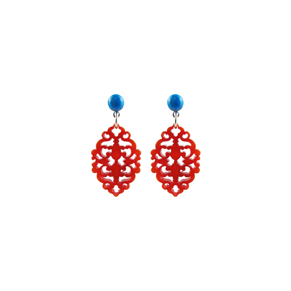 handmade designer womens orange Satya earrings katie bartels