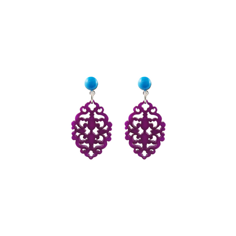handmade designer womens purple Satya earrings katie bartels