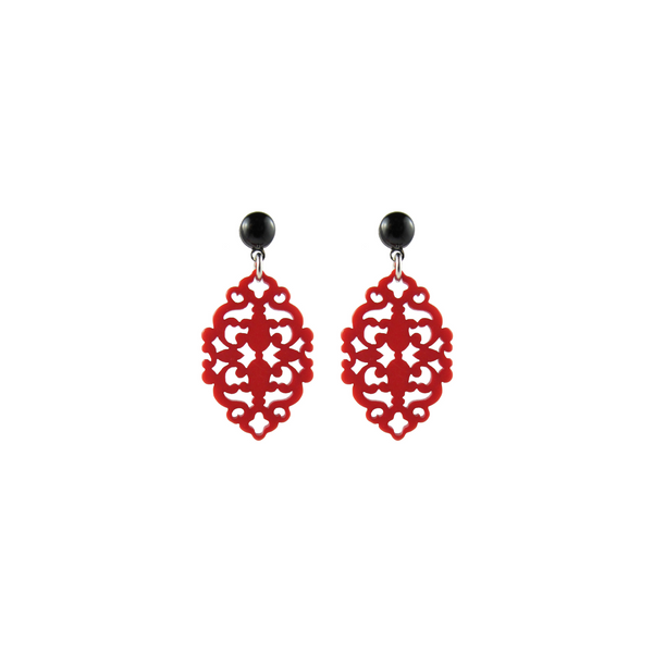 handmade designer womens red Satya earrings katie bartels