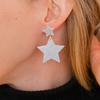 handmade womens silver glitter star earrings katie bartels