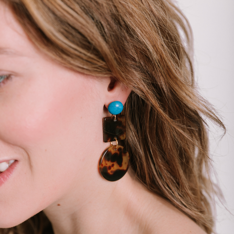 handmade womens tortoise square and circle earrings katie bartels