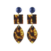 handmade designer womens square and marquise tortoise earrings katie bartels