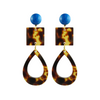 handmade designer womens square and tear drop tortoise earrings katie bartels