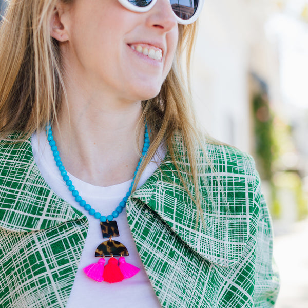 handmade designer womens tortoise and tassel and turquoise howlite necklace katie bartels