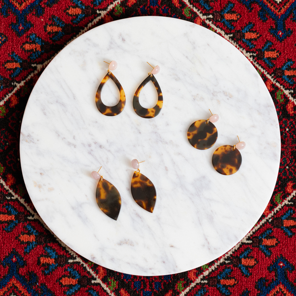 womens tortoise shell and rose quartz earrings katie bartels