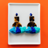 handmade womens tortoise and blue tassel earrings katie bartels