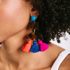 handmade womens tortoise and brightly colored tassel earrings katie bartels