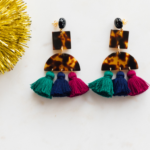 handmade womens tortoise and dark colored tassel earrings katie bartels