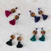 handmade womens tortoise circle and tassel earrings katie bartels