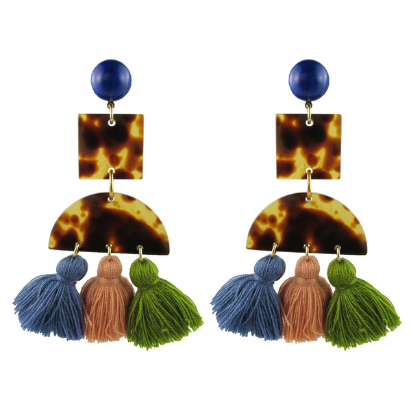 handmade designer womens tortoise and tassel light earrings katie bartels
