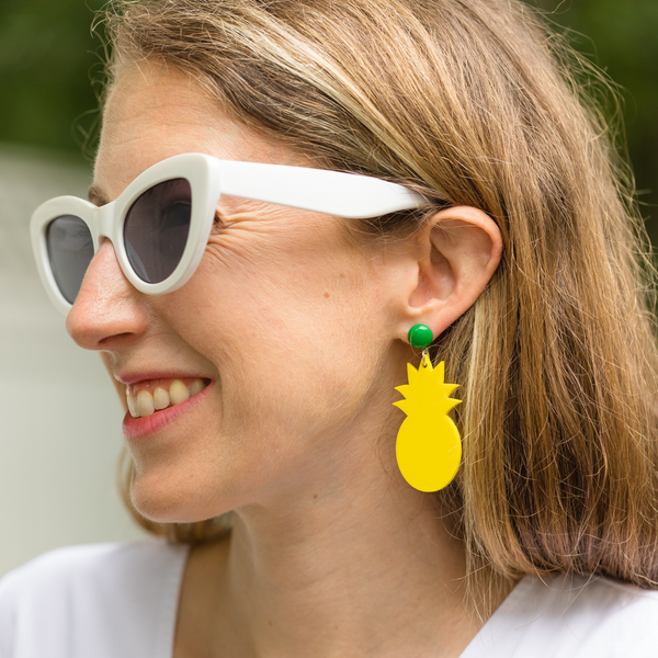 handmade womens yellow pineapple earrings katie bartels