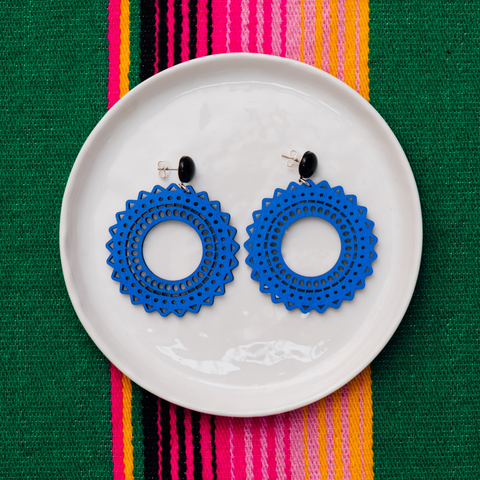 handmade womens blue circle earrings katie bartels