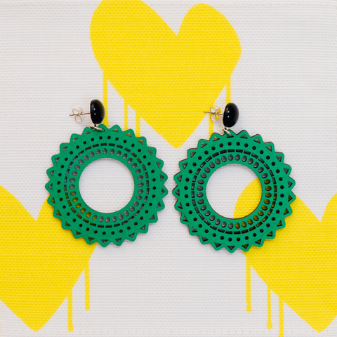 handmade womens green circle earrings katie bartels