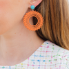 handmade womens orange circle earrings katie bartels