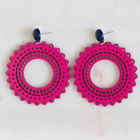 handmade womens pink circle earrings katie bartels