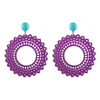 handmade designer womens purple laser cut wood vara earrings katie bartels