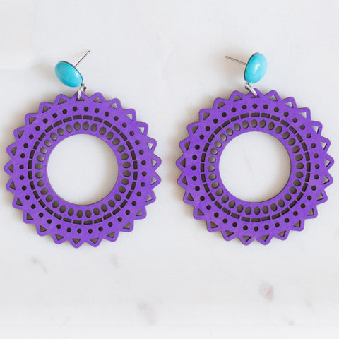 handmade womens purple circle earrings katie bartels