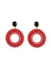 womens red clip-on vara earrings katie bartels