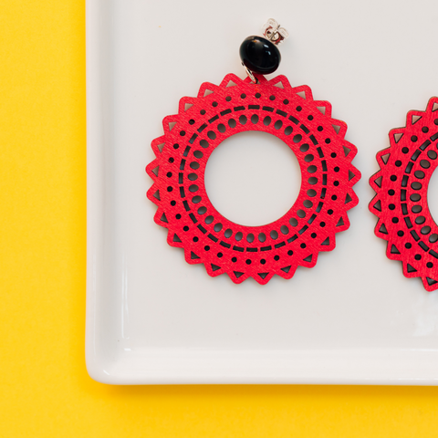 handmade womens red circle earrings katie bartels