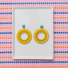 handmade womens yellow circle earrings katie bartels