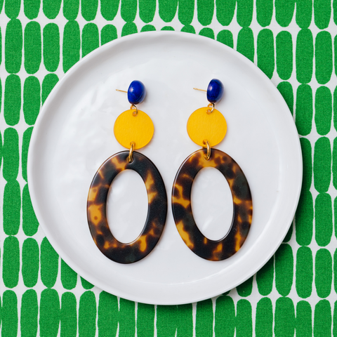 handmade womens tortoise open oval and yellow circle earrings katie bartels