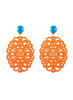 womens orange clip-on zohra earrings katie bartels