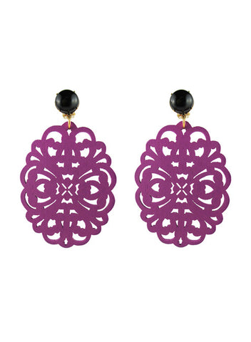 womens purple clip-on zohra earrings katie bartels