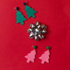 handmade womens green glitter tree earrings katie bartels