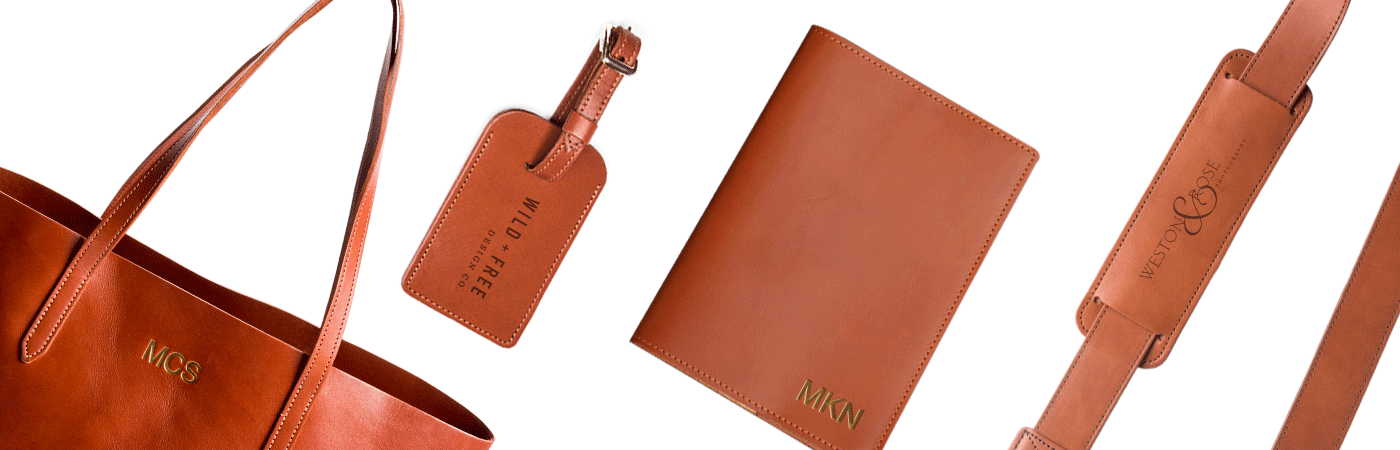 FOTO's genuine leather camera strap the Fotostrap and other leather gifts can be personalized with a monogram, text, gold foil initials or even a business logo. Click below to learn more about the personalization option for each of our products.