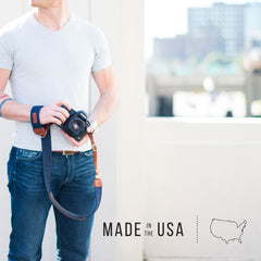 FOTO's genuine leather camera strap the Fotostrap and other personalized gifts are made in the USA with real vegetable-tanned leather.