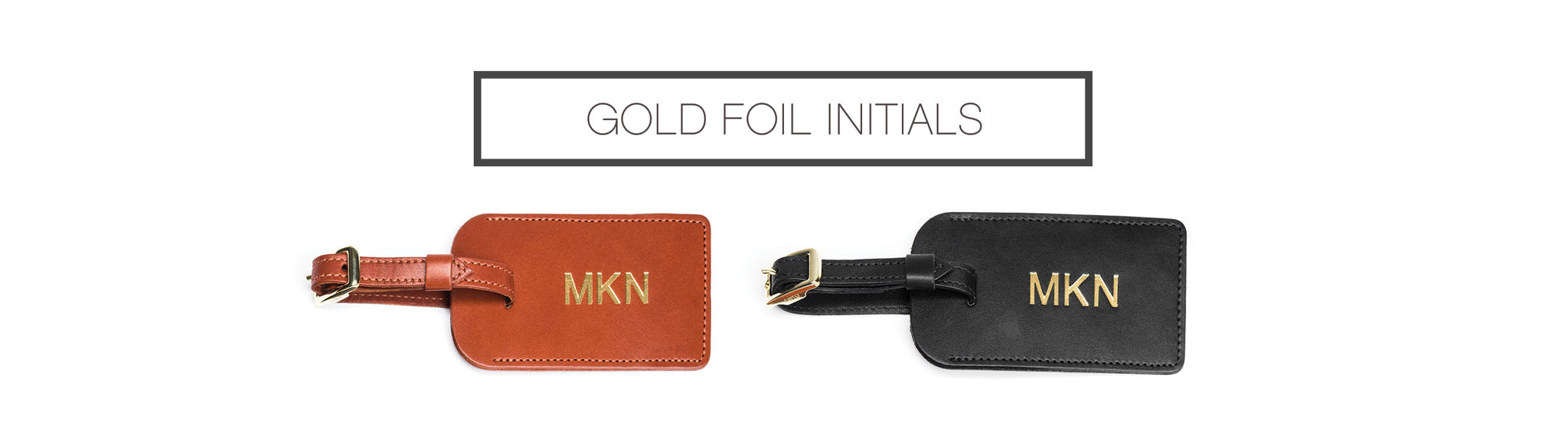Gold Foil Intials - FOTO Luggage Tag