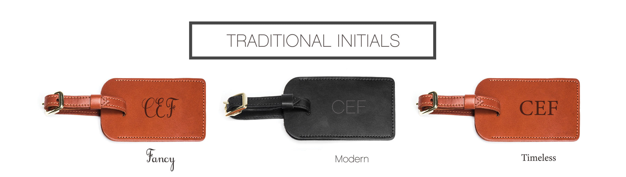 Luggage Tag Initials Personalization Options