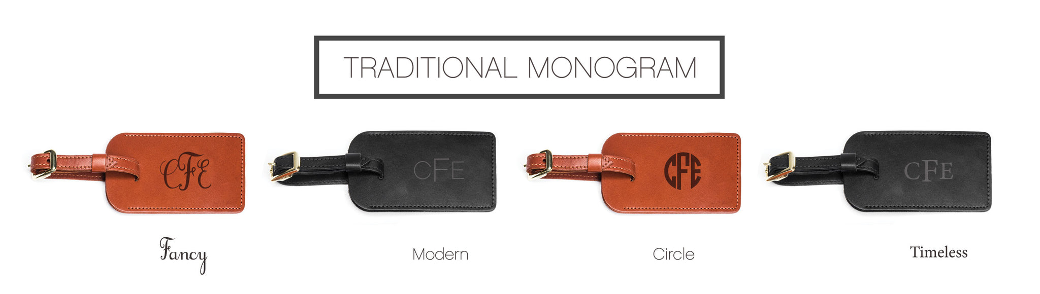 Luggage Tag Monogram Personalization Options