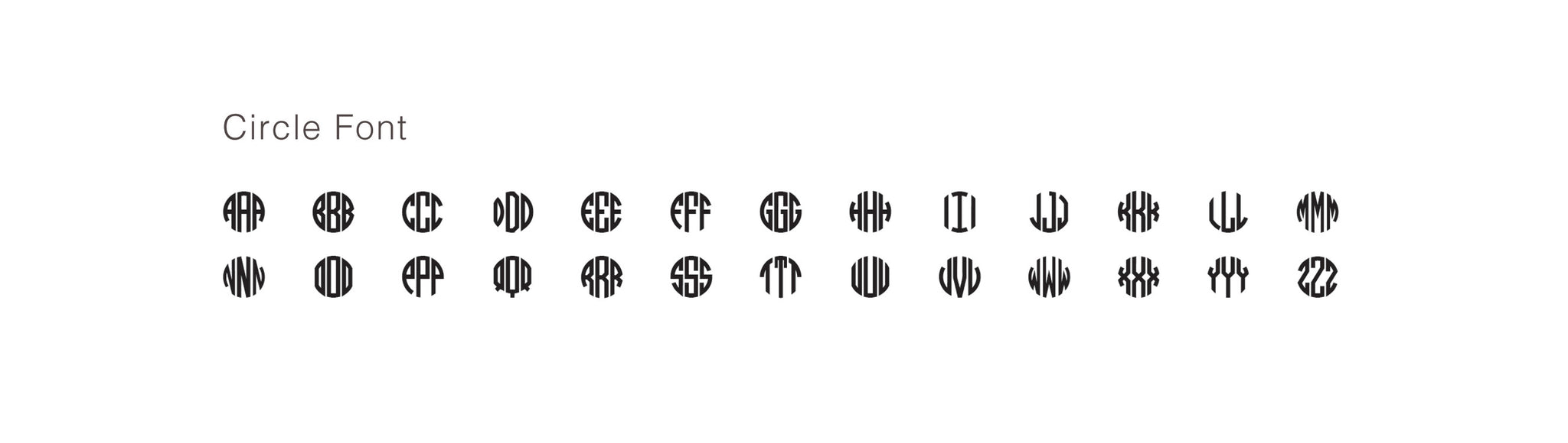 Circle Monogram Font Alphabet
