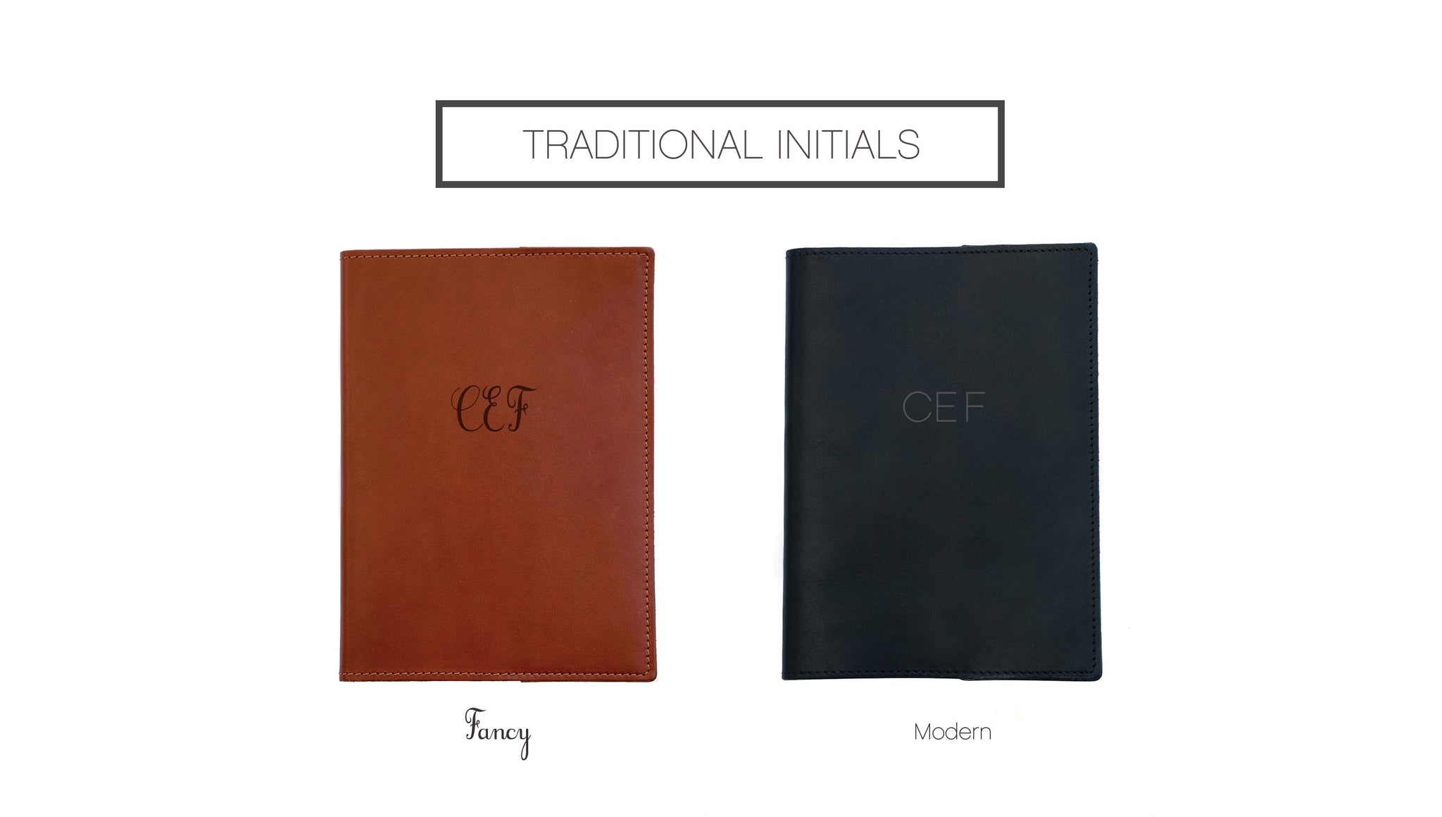 "FOTO's genuine leather journal can be personalized with your initials. Your three letters must be entered in the exact order you would like them to appear on the journal (typically ""First"" ""Middle"" ""Last"") and all the letters will be the same size."