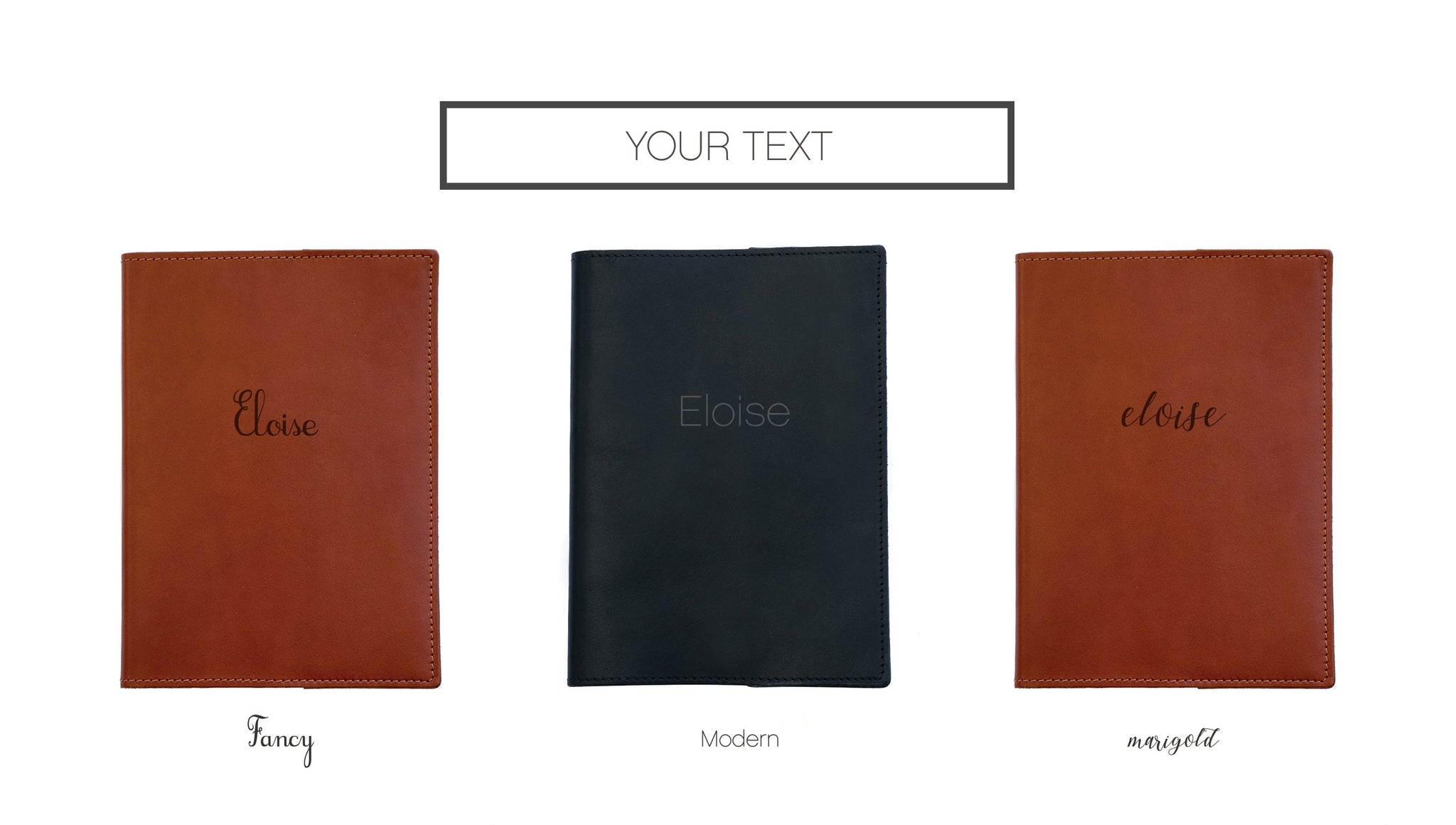FOTO's genuine leather journal can be personalized with text. Your text must be entered in the exactly as you would like it to appear on the journal. Text is limited to 14 characters and is available on one line.