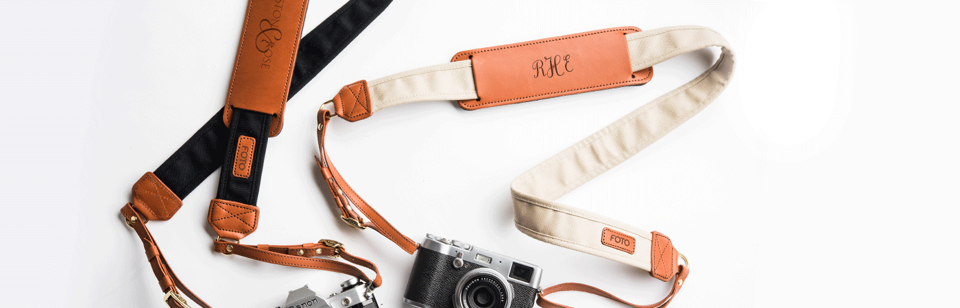 FOTO's genuine leather camera strap the Fotostrap cane be personalized with a monogram, initials, text or your business logo, making it the perfect personalized gift! Read below to learn more about how to personalize your Fotostrap!