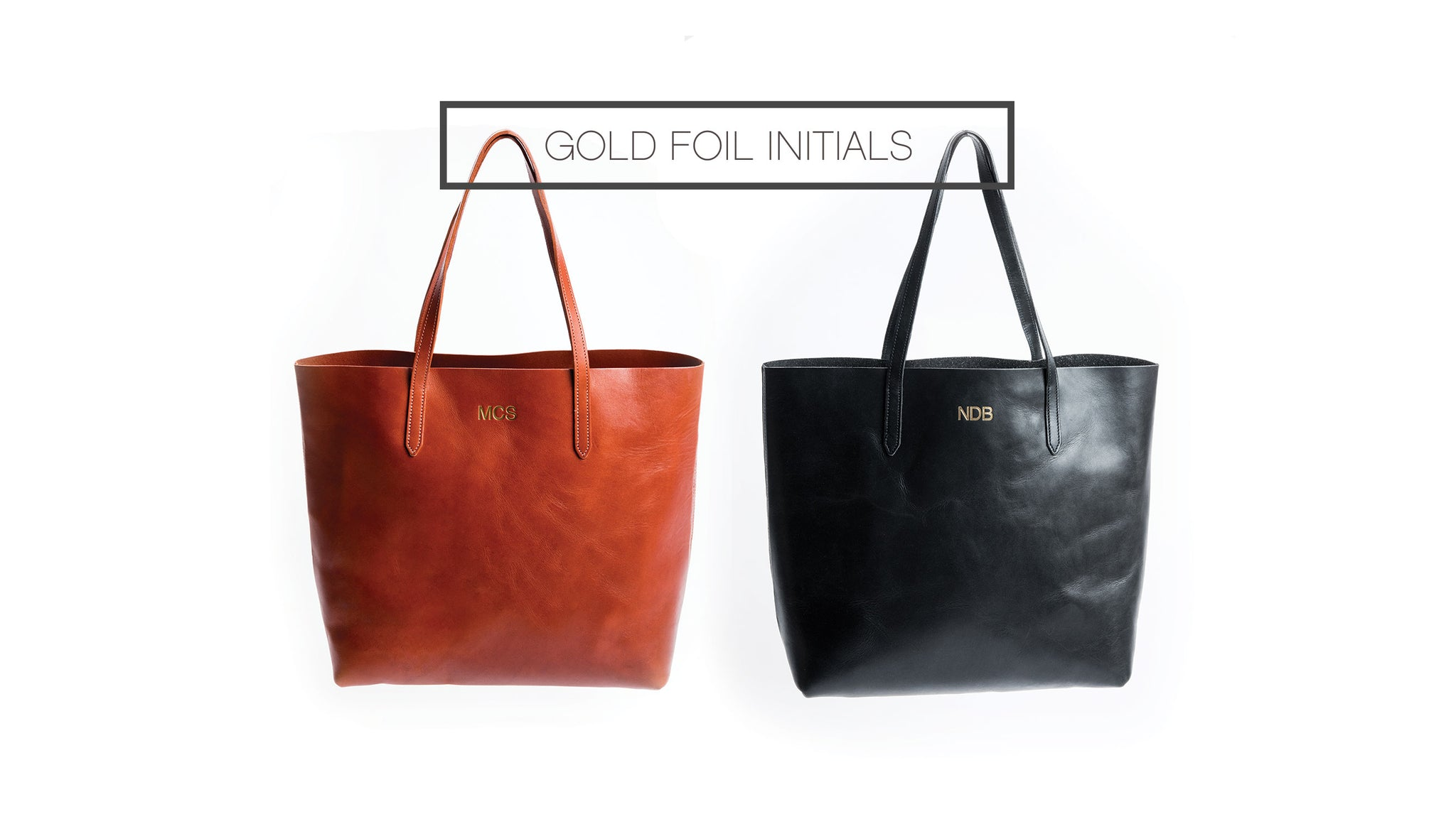 FOTO's genuine vegetable-tanned leather tote can be personalized with gold foil initials. The three letters must be entered in the exact order you would like them to appear on the tote and the letters will all be the same size.