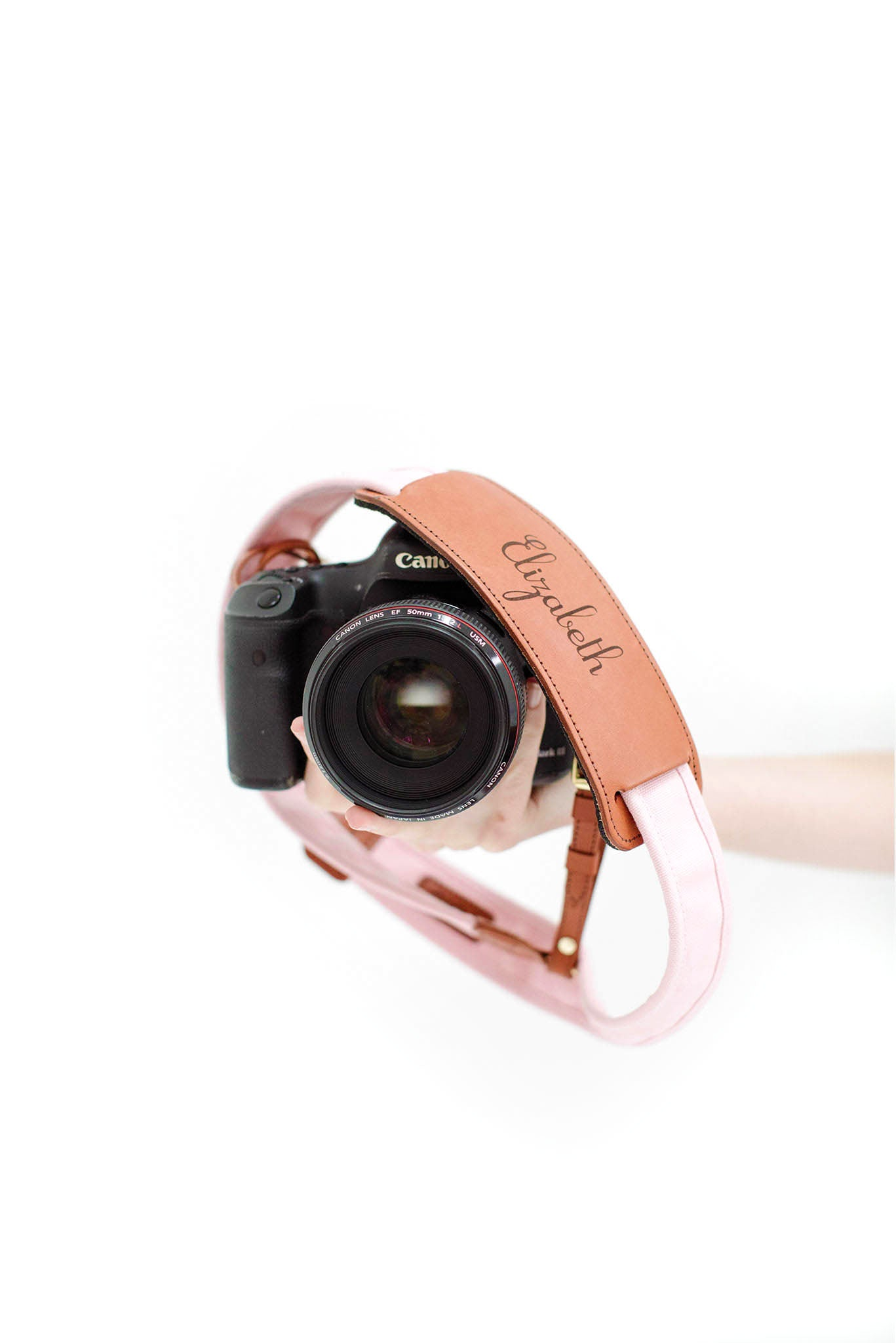 FOTO | Blush Fotostrap - a pink canvas and genuine leather camera strap that can be personalized with a monogram or business logo, making it the perfect personalized gift!